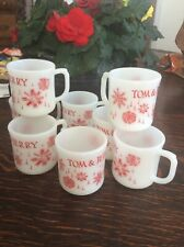 8 Vintage Fire King Tom & Jerry D-Handled Punch Bowl Mugs. Euc