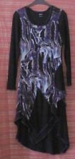 MOTTO Size 10 Black and Purple Layered Stretch Dress, Long Sleeves Made in Aust