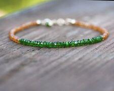 Natural Orange Sapphire & Chrome Diopside Bracelet Solid 14K Gold 5th 7th 45th