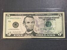 $5 Dollars Bill 6/8 Solid 2's Series 2006, Fancy Serial Number IF 2 6 22 7 222 A