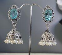 Silver Faceted Swiss Blue Topaz Quartz Jhumki Style Droplet Earrings