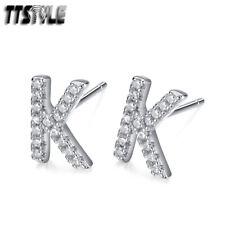 TTStyle RHODIUM 925 Sterling Silver Inital Letter M Earrings A Pair
