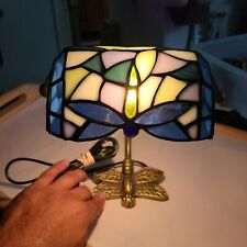 Vintage Dragonfly Tiffany Style Stained Glass Bankers Lamp Blue Brass Desk