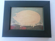 W Kimble Framed Folk Art Country Farm Pig Picture