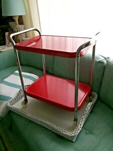 Vintage 2- Tier Cosco Metal Red Chrome Kitchen Rolling Cart Child Size