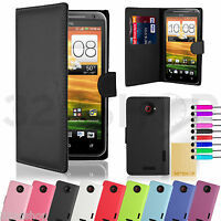 New PU Leather Book Wallet Case Cover For HTC One X + Screen Protector + Stylus