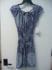 NWT Women's LC Loren Conrad Navy & White Pleat Neck Dress Size S Retail $60
