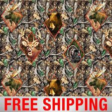 "Fleece Fabric Hunting Bear Moose Turkey Deer RealTree Free Shipping 60"" Wid 1503"