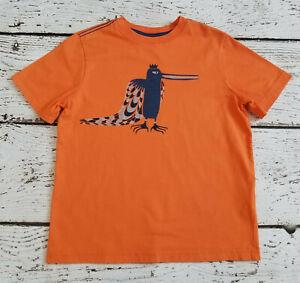 HANNA ANDERSSON Boys Orange Bird Peacock King Short Sleeve Shirt 130 7 8 VGUC