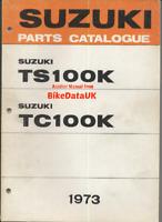 Suzuki USA TS100 TC100 (1973) Genuine Parts List Catalogue Book TS TC 100 K BS27