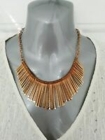 Gold Tone Metal Chunky Statement Necklace Modernist Runway Tribal Cleopatra