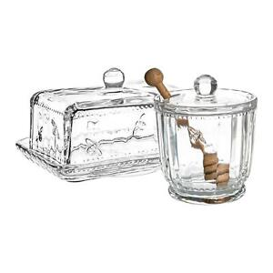 Bee Glass Butter Dish & Honey Pot Set Decorated Kitchen Containers with Lid