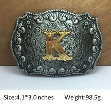 Mens Western Cowboy Texas Rodeo Initial K Heavy Steel Belt Buckle Jewelry Gift