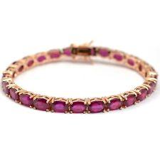 Natural Ruby 14K Rose Gold Plating Sterling 925 Silver Ruby Tennis Bracelet
