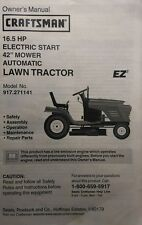 "Sears Craftsman 16.5 h.p 42"" Riding Lawn Tractor Owner & Parts Manual 917.271141"