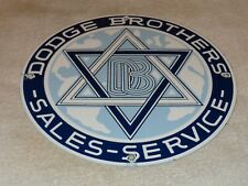 """VINTAGE DODGE BROTHERS SALES+ SERVICE11 3/4"""" PORCELAIN METAL GASOLINE & OIL SIGN"""