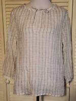 Eileen Fisher White Striped 100% Organic Linen Tunic Top Shirt Size Medium