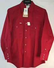 "Men's CARHARTT Canvas Western Rugged Long Sleeve Shirt Size 15 1/2"" X 33 S01 Red"