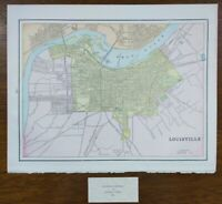 "Vintage 1900 LOUISVILLE KENTUCKY Map 14""x11"" Old Antique Original JEFFERSONVILLE"
