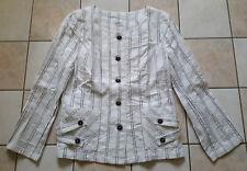 Damen Jacke Blazer Blusenjacke weiß-schwarz gestreift  Gr.40 *TOP