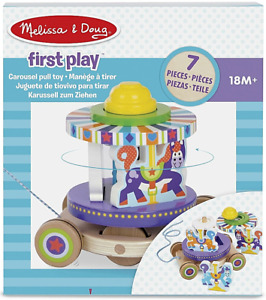 Melissa & Doug Carousel Pull Along Stack & Spin Wooden Toy New Baby Gift 18m+