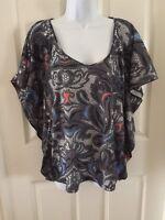 Kardashian Kollection Paisley Shirt Womens Blouse Top Gray Bat Wing Sleeve Sz S