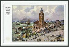 Hamburg St. Pauli Landungsbrücken Segler Straßenbahn Litfaßsäule Panorama 1912!!