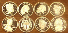 8 One 1 Gram .999 Silver Rounds Assorted Designs.....Free Shipping..Lot A62