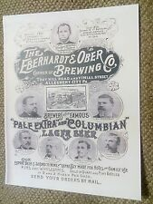 1894 Eberhardt & Ober Brewing Co. Pittsburgh Allegheny PA. Lager Beer Ad Poster