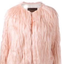 NEW Small Faux Fur Fluffy Pink Coach Cropped Jacket Coat MSRP $795 Sold Out