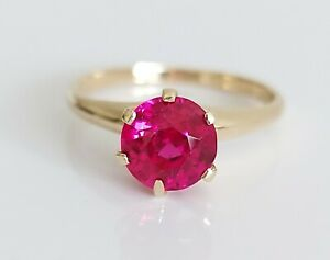 Beautiful 10K 10ct Yellow Gold & 1.80ct Ruby Solitaire Engagement Ring UK O