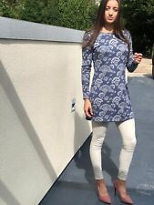 LILY AND ME  TUNIC TOP SIZE 10/12 GREY AND BLUE LONG SLEEVES BNWT