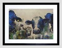 NATURE COW CATTLE FARM ANIMAL BLACK FRAMED ART PRINT B12X3444