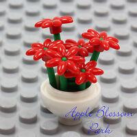 NEW Lego Friends Minifig WHITE FLOWER POT w/Red Daisy Flowers Green Plant Stems