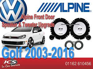 VW GOLF MK4 5 6 7 Alpine Front Door Speaker Tweeter Upgrade Set 280W