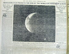 1899 newspaper wHdln display predicting the END OF THE EARTH from a COMET STRIKE