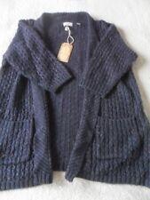 EX Fat Face Hepburn Navy Marl Medium Knit Acrylic Blend Open Cardigan Size 8-18 10