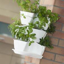 Plastique blanc Herb Pot De Fleur Suspendu/Debout/Empilage/colonne Auto Eau 30 cm