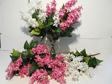 LILAC BUSH PINK (3)AND WHITE (2) LOT OF 5 PC~NEW~WEDDING ANNIVERSARY HOME DECOR