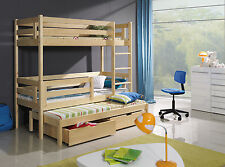 NEW BUNK BED TRIPLE WOODEN  BUNK BED-BERT  WITH MATTRESSES AND  STORAGE DRAWERS
