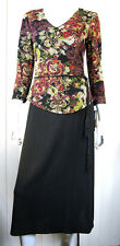 CONNECTED APPAREL LONG SLEEVE DRESS SIZE 6 V NECKLINE BLACK RED PAISLEY