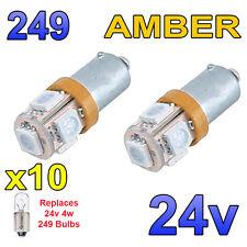 10 X 24V Bombillas LED ámbar de BA9s 249 Luz Lateral Cuña ambiente hombre Volvo
