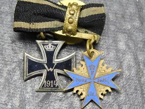 Knopflochspange mit Pour le Merite und EK 1914 20 mm mit Juwelier Original (795)