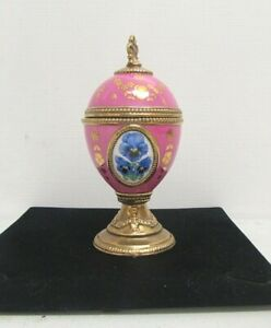 HOUSE OF FABERGE PAIR OF MUSICAL EGGS PANSY AND TULIP     #NSDC#
