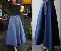 Womens Classic A-line Cowboy High Waist Vogue Long Denim Flare Blue Skirt Dress