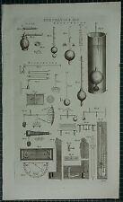 1786 PRINT ~ PNEUMATICS HYDROMETER GAGE VARIOUS DIAGRAMS APPARATUS