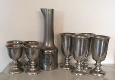 Nine Piece Vintage Pewter Wine Decantur And Glasses Large And Small