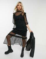 Violet Romance Dress Size 12 Black Midi Maxi Mesh Polka Dot Dress NEW GW34
