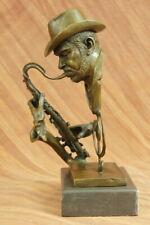 Black African American Trumpet Horn Player Jazz Musician Bronze Marble Statue NR