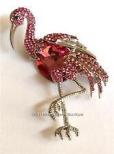 Silver Flamingo Pin Brooch Pink Austrian Crystals Island Bird USA Seller